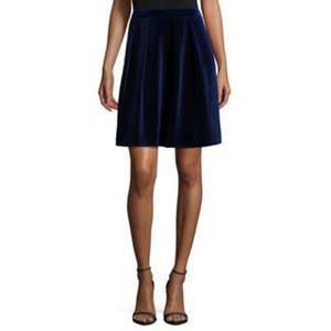 Blue Velvet Jacquard Pleated Skirt